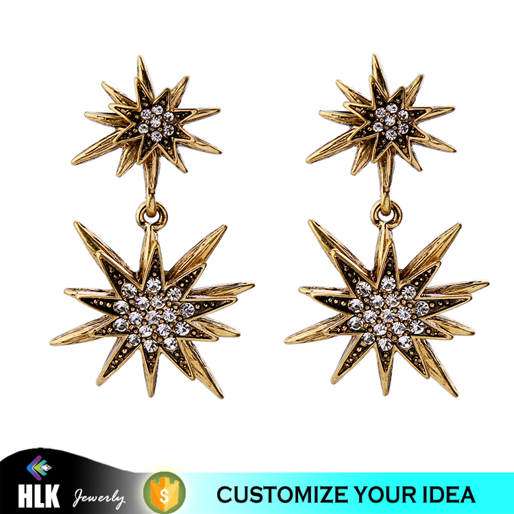 European Style Retro Fashion Jewelry Organizer All-match Diamond Star Palmbeach Female Temperament Earrings