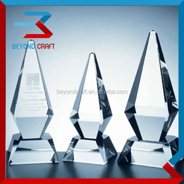 crystal trophy memento ,stock crystal plaque award