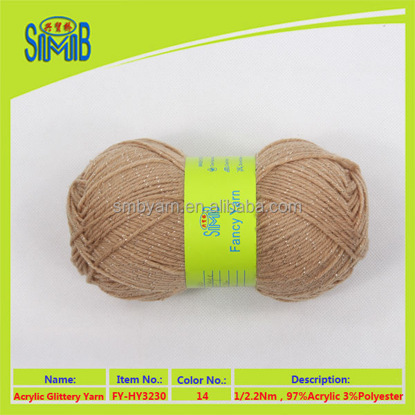 2017 Shanghai shingmore bridge knitting yarn factory selling oeko tex good solid color glittery yarn for hand knitting