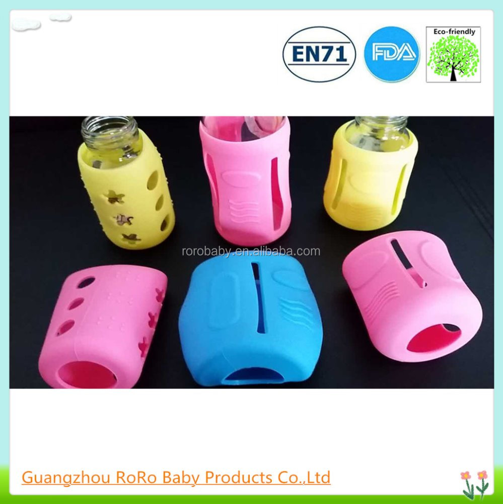 Anti-drop glass baby nursing bottle silicone sleeve