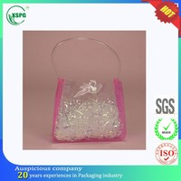 Button closure clear pvc bag tote