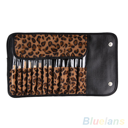12pcs Professional Private Label Makeup Brushes Set With Roll Up Leopard Bag