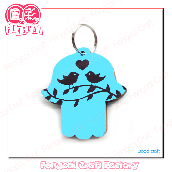 Blue Color Keychain with Love Birds Pattern