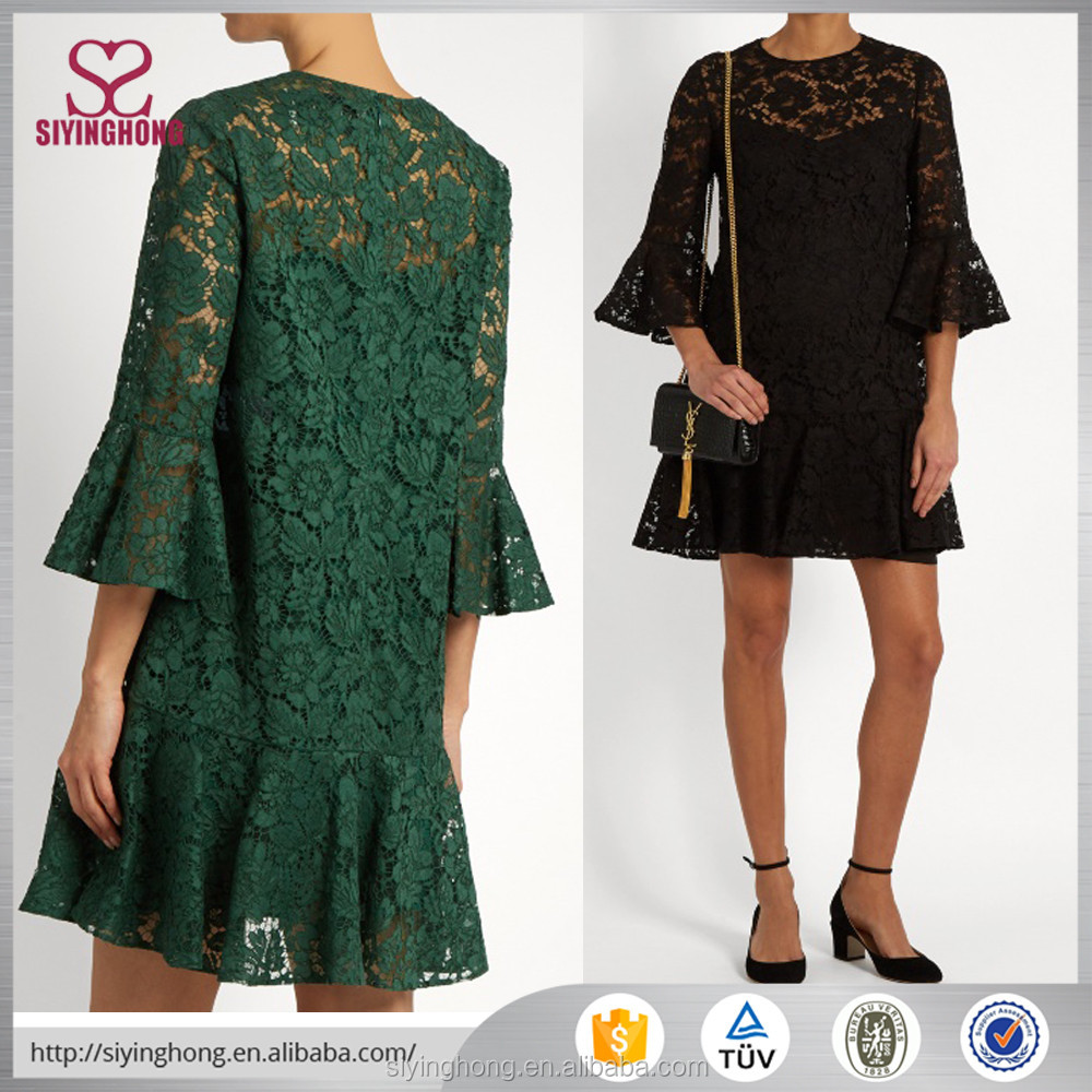 Fluted sleeve and hem cotton-blend black and dark green lace dress
