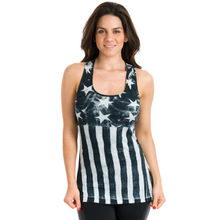 promotion 100% cotton yarn dyed American Flag tank top for women