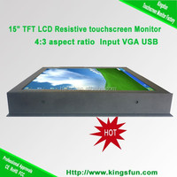 15 inch TFT LCD 4 wire resistive 5 wire resistive touch screen Monitor with VGA and USB touch