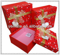 New product quality red cardboard paper small gift boxes for sale with ribbon & printing inside for christmas,birthday,cosmetic