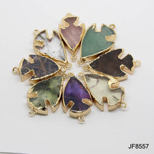 JF8557 New style Gold plated natural crystal stone arrow head arrowhead connectors