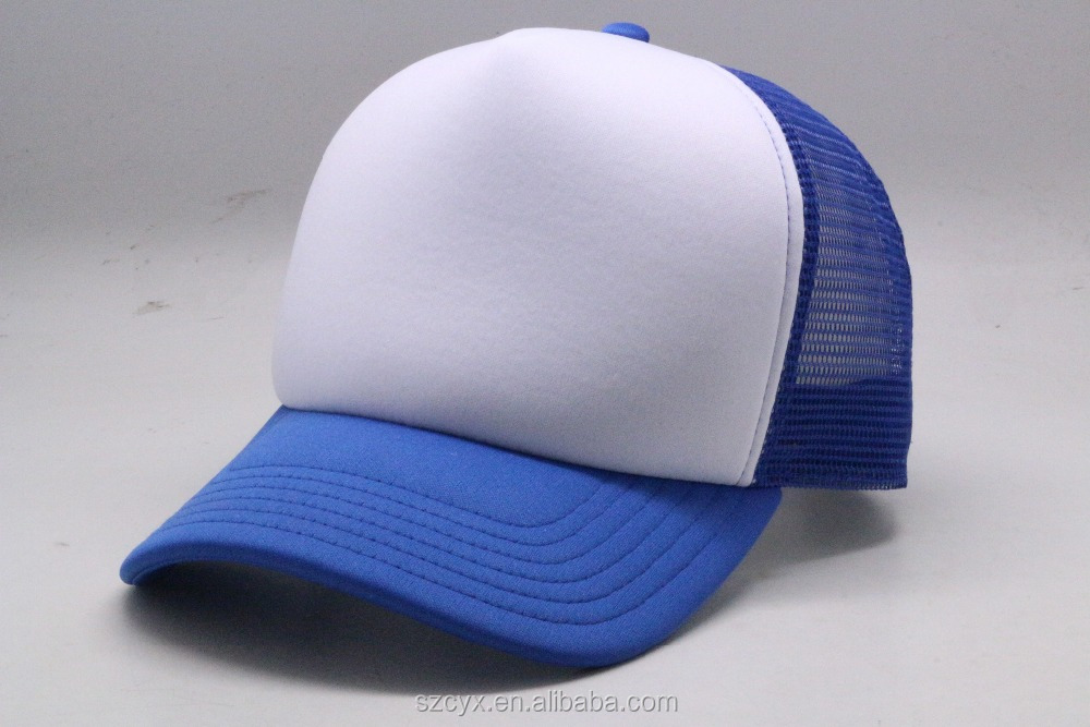 2016 OEM Custom Color 5 Panels Plain Trucker Cap Blank Foam Mesh Trucker Hats
