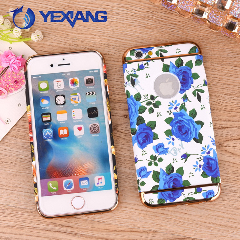 Water Transfer Flower Design 3 in 1 Electroplating Stylish Case For Iphone 7 Housing Custom