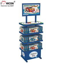 Floor Standing Kids Toy Retail Store Advertising 3-Layer Metal Video Game Car Model Display Stand