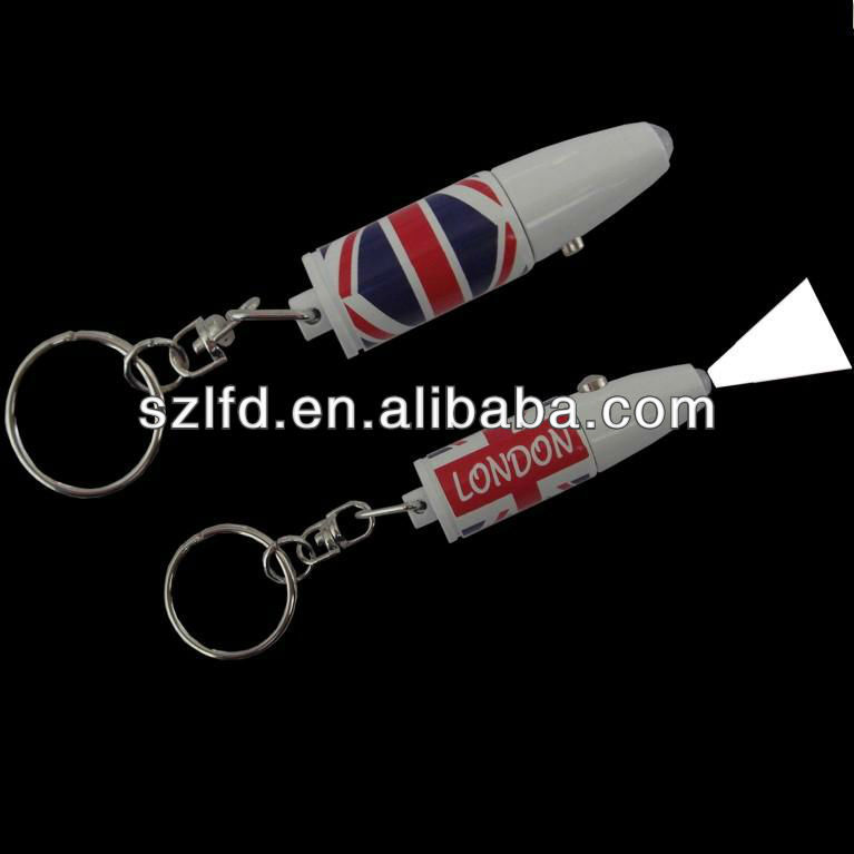 promotional items projective bulletshape key chain light , projection metalbullet keychain fans