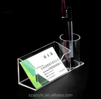 with pen holder acrylic display name card holder for office