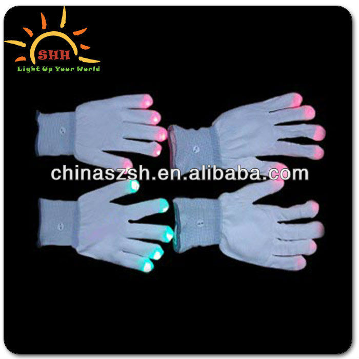 Fashion led light up fabric finger light gloves promotional