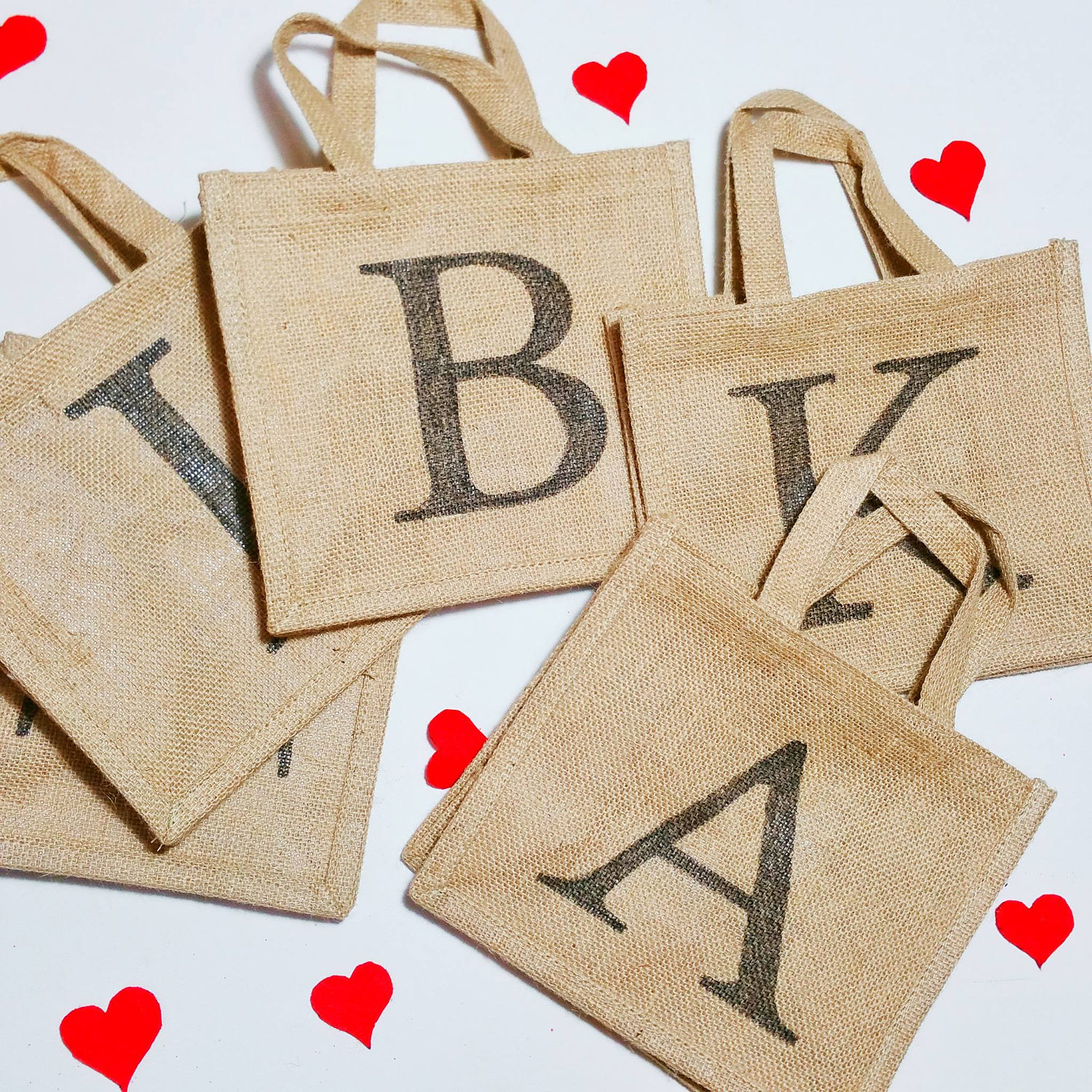 Gorgeous personalized initial hessian jute party gift bag