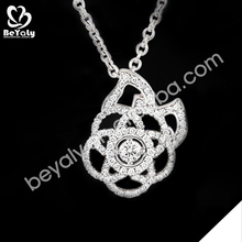 Cheap fine cz silver rose flower necklace for girls