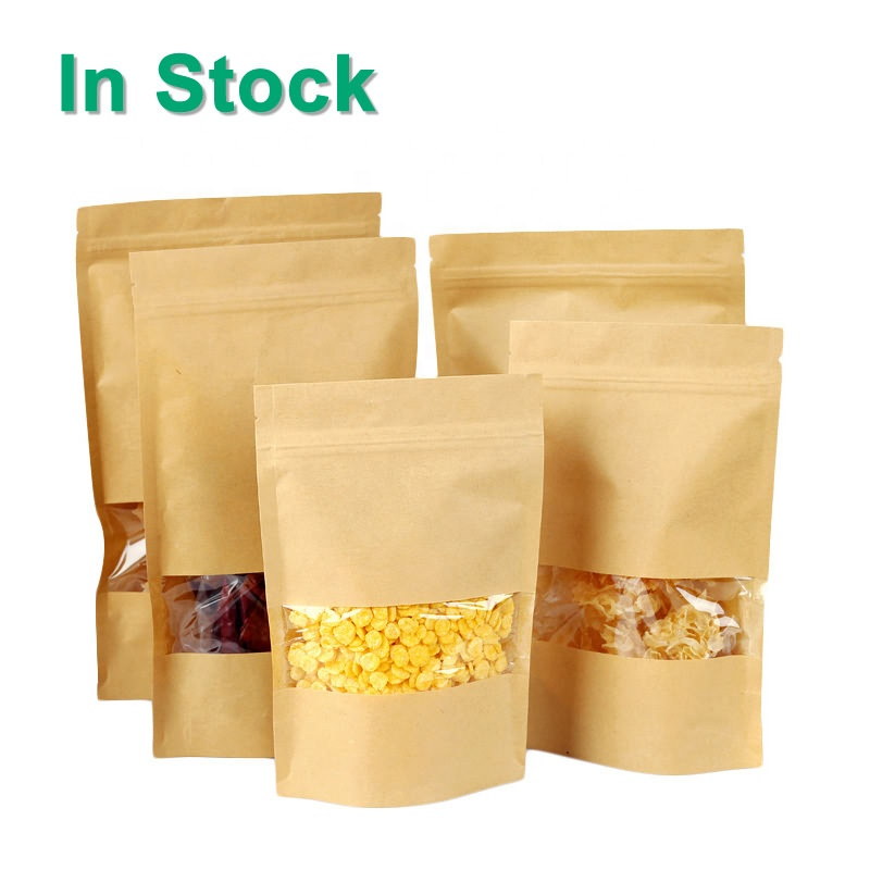 Stand Up Zipper Brown Kraft Paper Bag With Clear Window