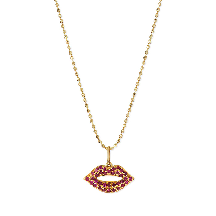 Red lip design necklace for girls sex rubby jewelry necklace