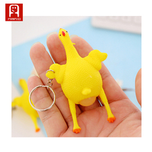 Hot sale rubber baby educational toy squeeze chicken lay egg toy with key chain