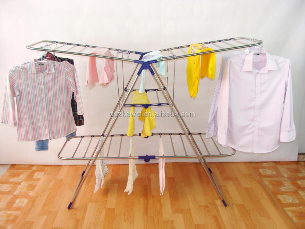 Stainless Steel Folding Clothes Drying Rack, 3 Layers For More Clothes But Less Space