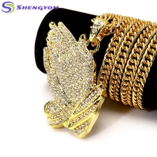 Top Sale Gold And Sliver Colors Chain Elegant Fashionable Hip Hop Jewelry With Handclaps Shaped Men Pendant Necklace