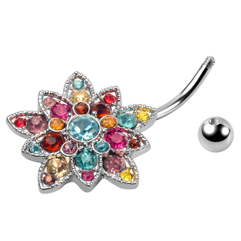 Fashion stainless steel navel piercing unique mixed colors crystal flower belly rings wholesale