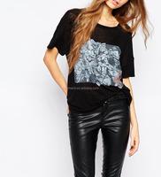 long loose pure cotton short sleeve t shirt Ladies solid colors o-neck plus size
