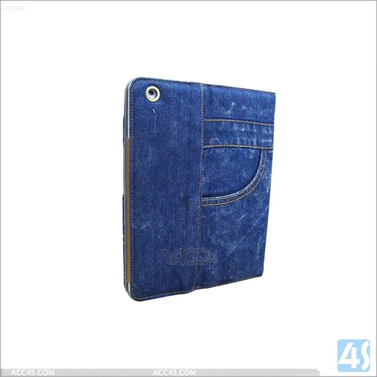 Jeans denim design leather case for iPad air 2