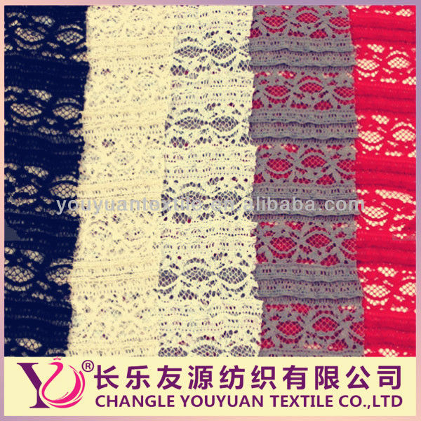 Hot selling Ruffle stretchy curtain lace fabric by the Yard