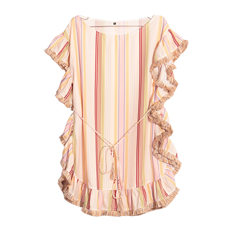 Europe Style Rainbow Patchwork Dresses Tassels Casual Straight Dress Woman O Neck Girl Dress U046