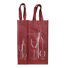 good quality promotional pp non woven fabric single wine bottle gift tote carrier bag with custom logo print