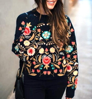 2017 Spring New Design Embroidery Flower Sweater Ladies Retro Floral Knitwear 90's Vintage Embroidered Sweaters