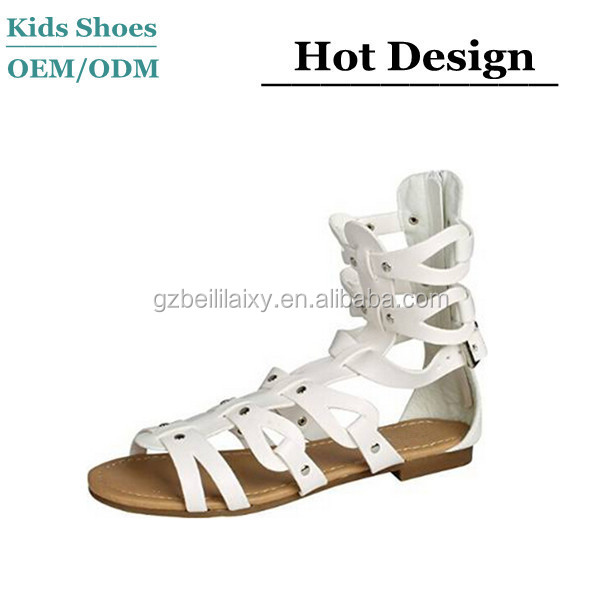Kids Heel Shoes Strappy Gladiator Flat Sandals Gold Sexy Girl Sandals
