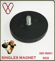 Neodymium Thread Hole Black Rubber Coat Pot Magnet Assemble