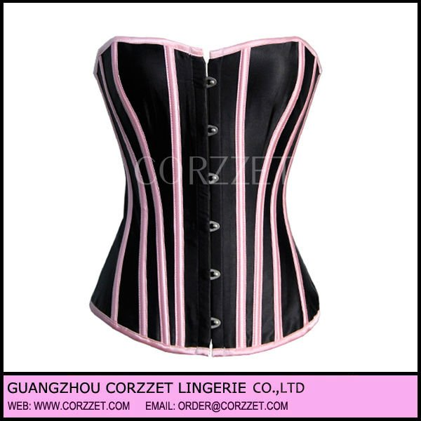 Black orthopedic corset with pink strip