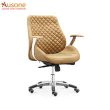 Middle Back Rhombus Luxury Heated Computer Chair Yellow Leather Chair