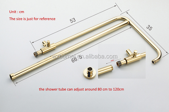 Exposed contemporary brass bath&shower faucet set in vacuum coating gold finish