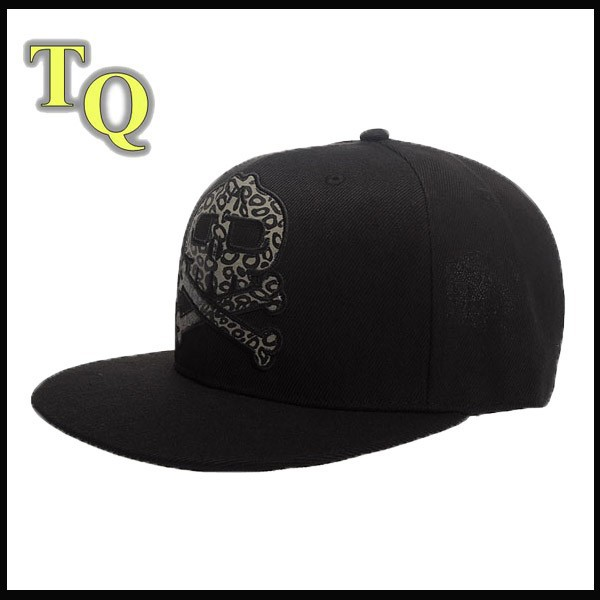men cheap skull headwear caps with applique embroidery in the front black color