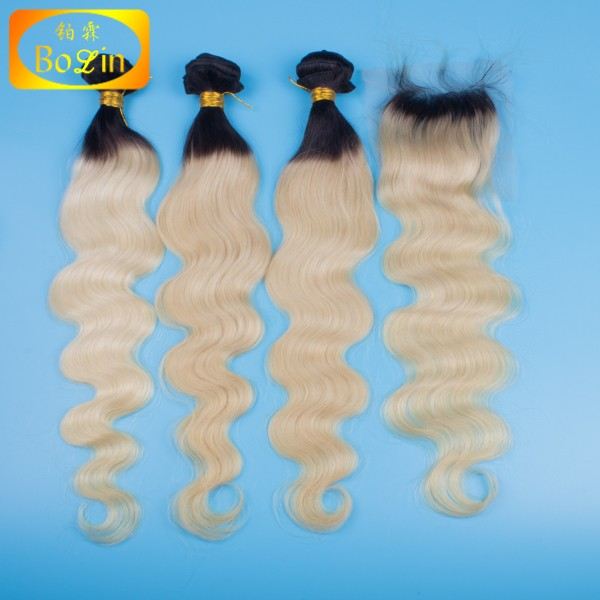 factory price large stock 1b blonde hair bundles with lace closure