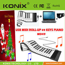 konix 49 Keys USB Silicone flexible usb piano Keyboard For PC for promotion