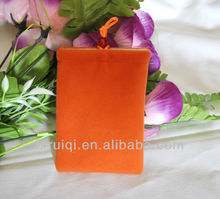 direct manufactory cheap high quality orange mobile phone bags&cases, microfiber bag for cellphone, drawstring pouch for gift