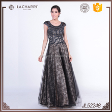 Hot selling Tulle Lace Fabric Black Ball Gown Evening Dress 2016