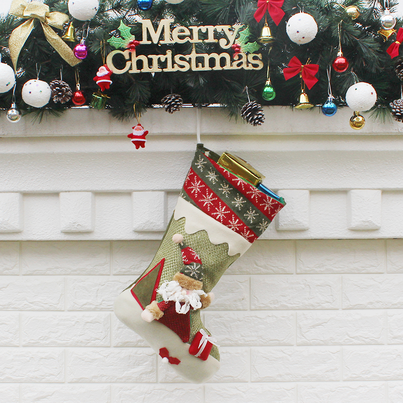 New Year Lovely Vintage Christmas Stocking Snowman Bag Gift Sock Ornament Socks Santa Claus Candy Bag Christmas Decoration