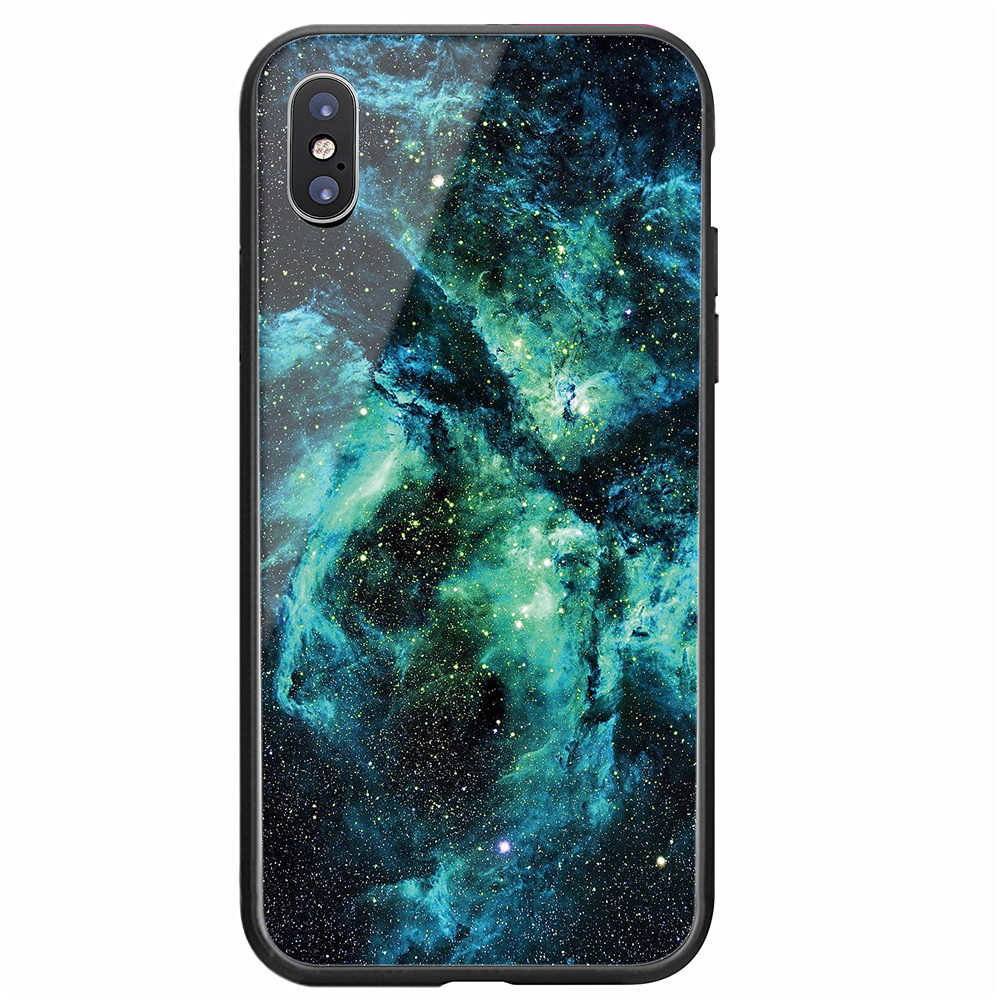 New trend nebula glass back cover 3 in1 TPU PC tempered glass back mobile cases for iphone x