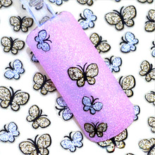 New Arrival DIY French 3D Glitter Butterfly Nail Art Stickers Decals Tips Decoration Decoration Fashion Nail Accessories