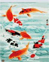 Fishes pattern handmade oil paint by number for wholesale