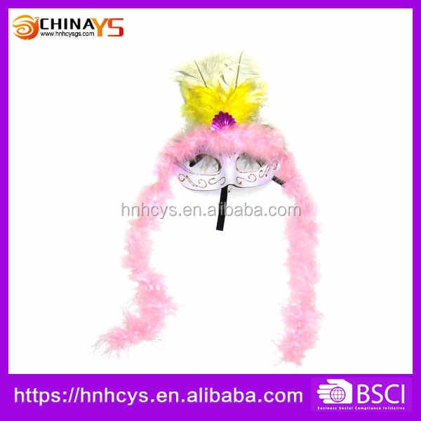 Attractive Pretty Pink Feather Custom Carnival Mask For Kids or Adults