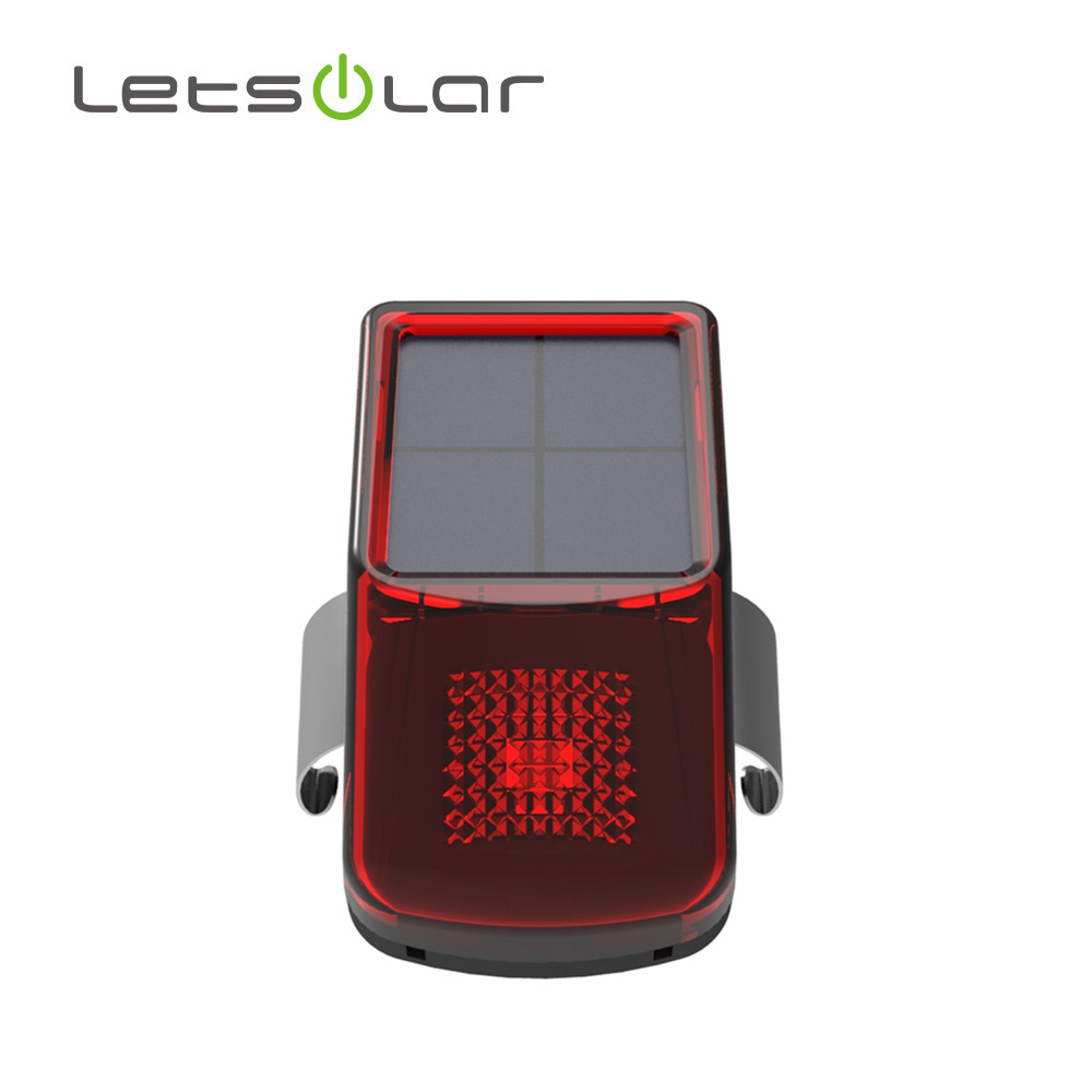 2017 1 LED solar power tail light bicycle