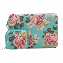 Canvas Fabric Rose Pattern Laptop Sleeve Bag Cover for 13-13.5 Inch MacBook Pro