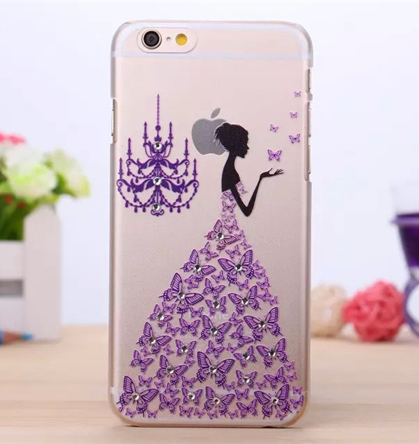 New Products 2016 Printing Crystal Diamond Hard PC Phone Back Cover Case For iPhone 6 Graceful Woman Mobiles Accessories